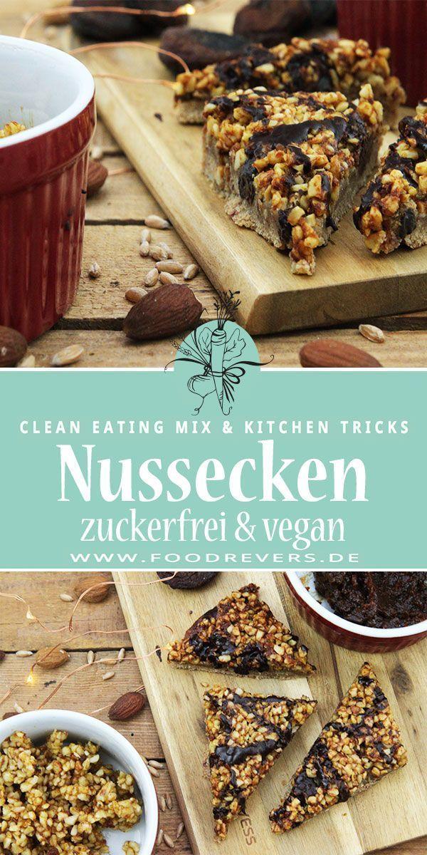 Gesunde Nussecken mit Marzipan - zuckerfrei und vegan mit Clean Eating - Foodrevers