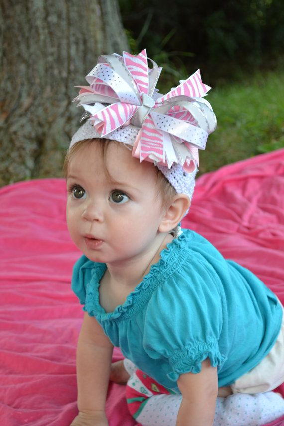 Silver Pink & White Zebra  Hair Bow by thisplaidshirt on Etsy, $10.50