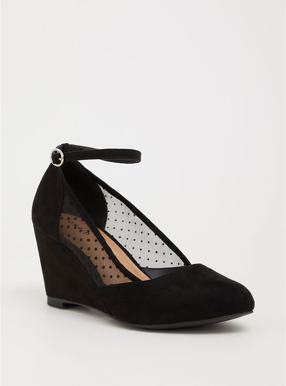 Black Mesh Dot Midi Wedge (Wide Width) in 2019 | Black mesh