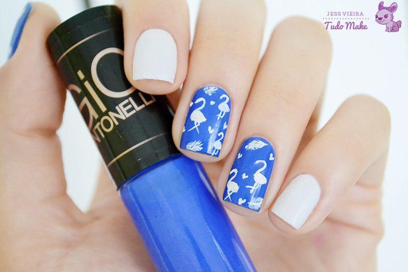 Nail art flamingos