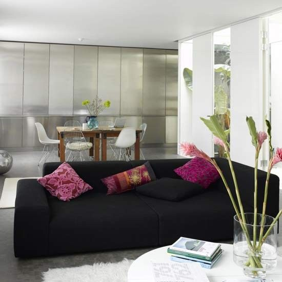 Modern Metallic Living Room Living Romo Furniture Decorating Ideas Ideal Home Black Furniture Living Room House Interior Black And White Living Room