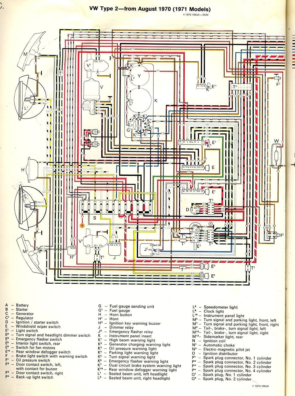 1971 Bus Wiring Diagram Thegoldenbug Com Vw Vocho Jeep Cj5