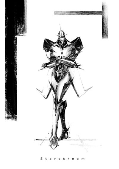 Starscream in black and white- makes him loo badaft!! :P Luv it!