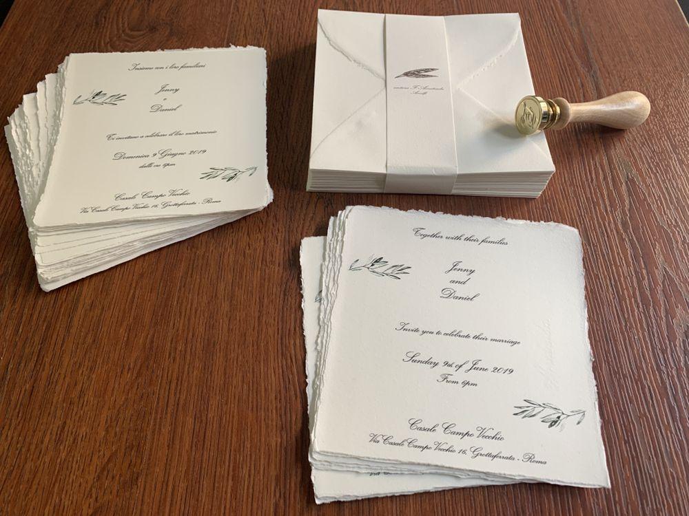 Partecipazioni Matrimonio Inglese.Partecipazioni Di Matrimonio Stampate Su Carta Amalfi In 2 Lingue
