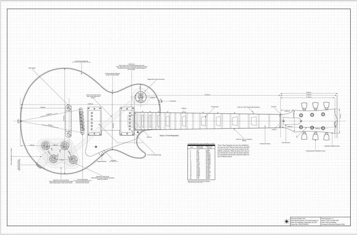 complete plans and routing templates for all variations of the gibson les paul custom 59 plus les paul junior perfect for custom builds  [ 1194 x 788 Pixel ]