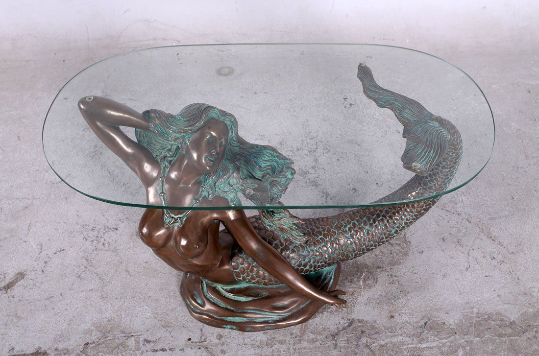 Nautical Tropical Imports 36 25 Mermaid Table With Glass Top