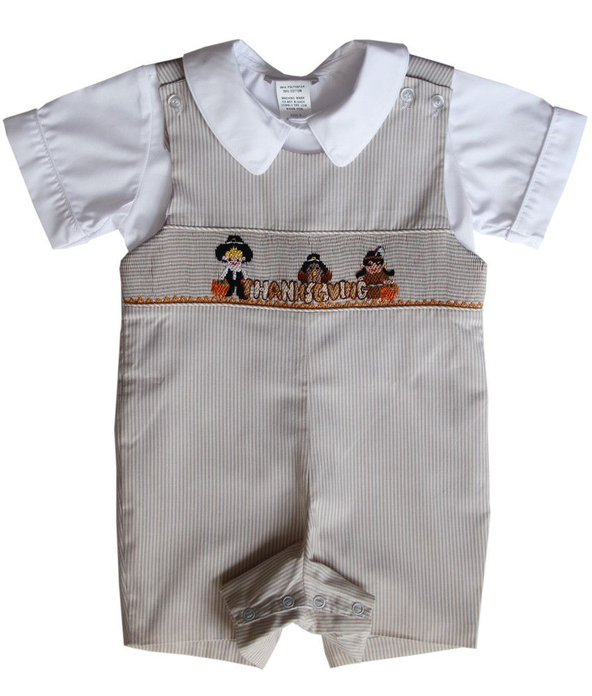 Baby Boys Thanksgiving John John Smocked Pilgrim Indian Boys Smocked Outfits Thanksgiving Baby Outfits Boy Outfits