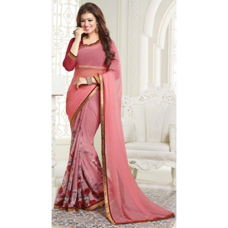 Buy Chiffon Plain Saree With Printed Border And Blouse In