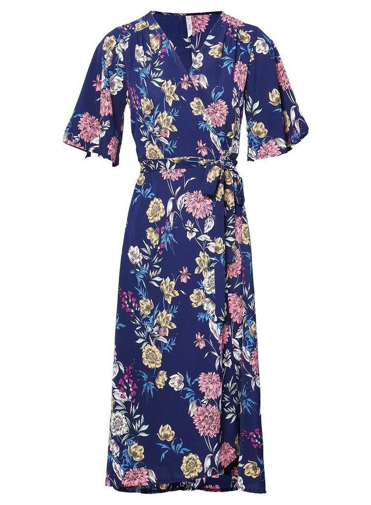 dc9f20045d4 Izabel London Navy Tie Side Wrap Dress