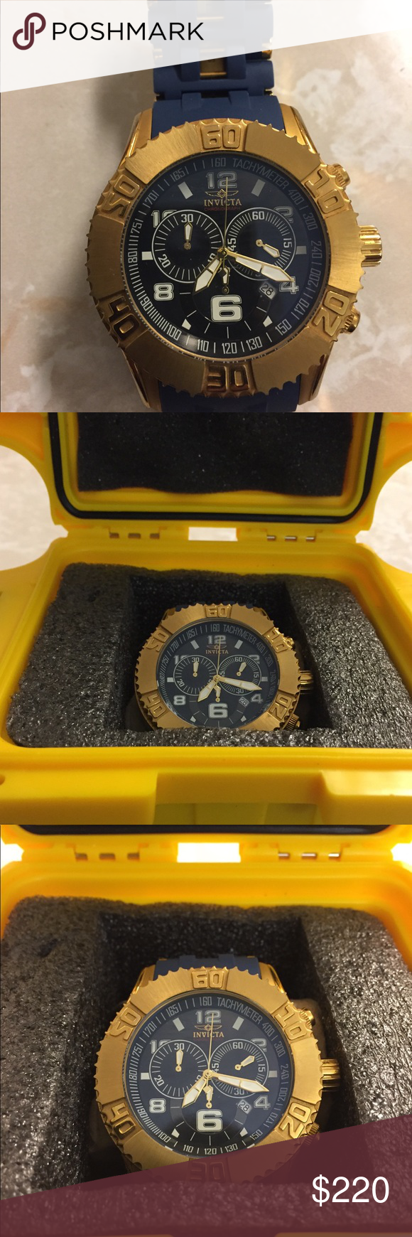 Men's Invicta Sea Spider Watch model 15244 Beautiful royal blue and gold. Worn twice. Awesome, eye-catching watch... just not his style. Maybe it's yours. Invicta Accessories Watches