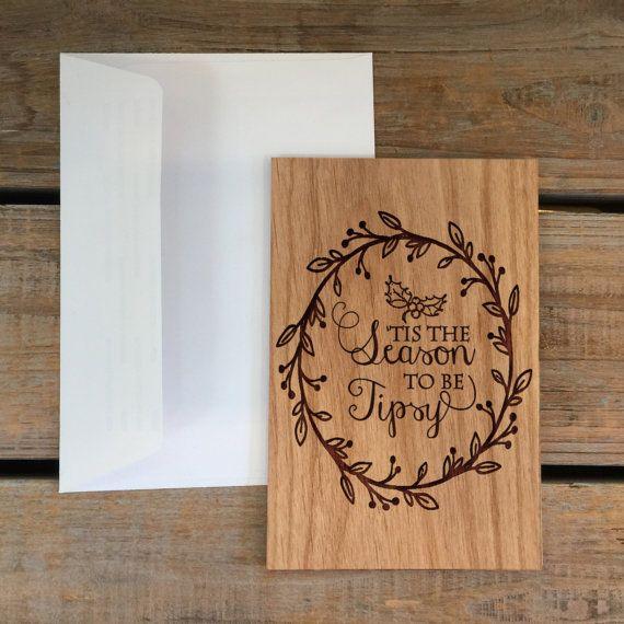 Greeting Card Wood CardReal Wood Card-Tis by MineByDesignStudio