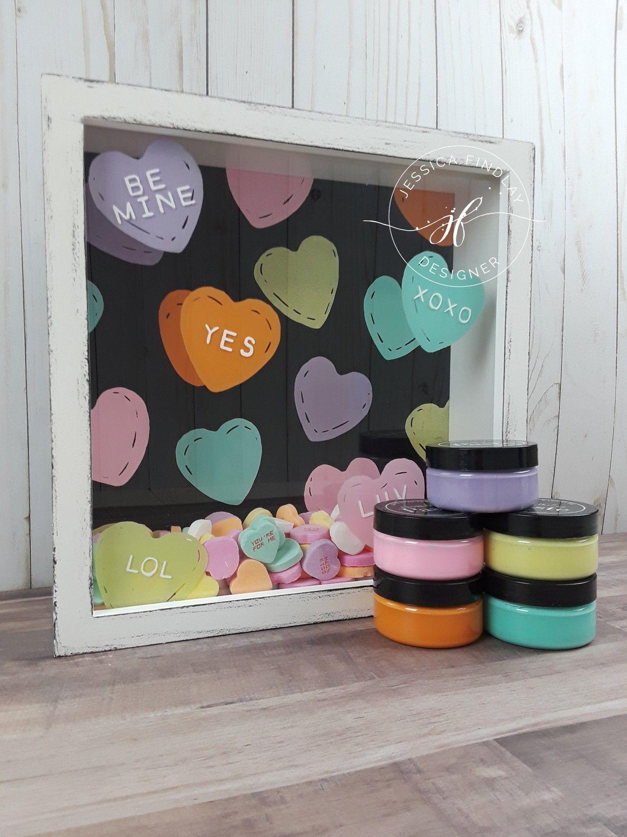 Candy Hearts Decor Chalk Couture Shadow Box Design Valentine