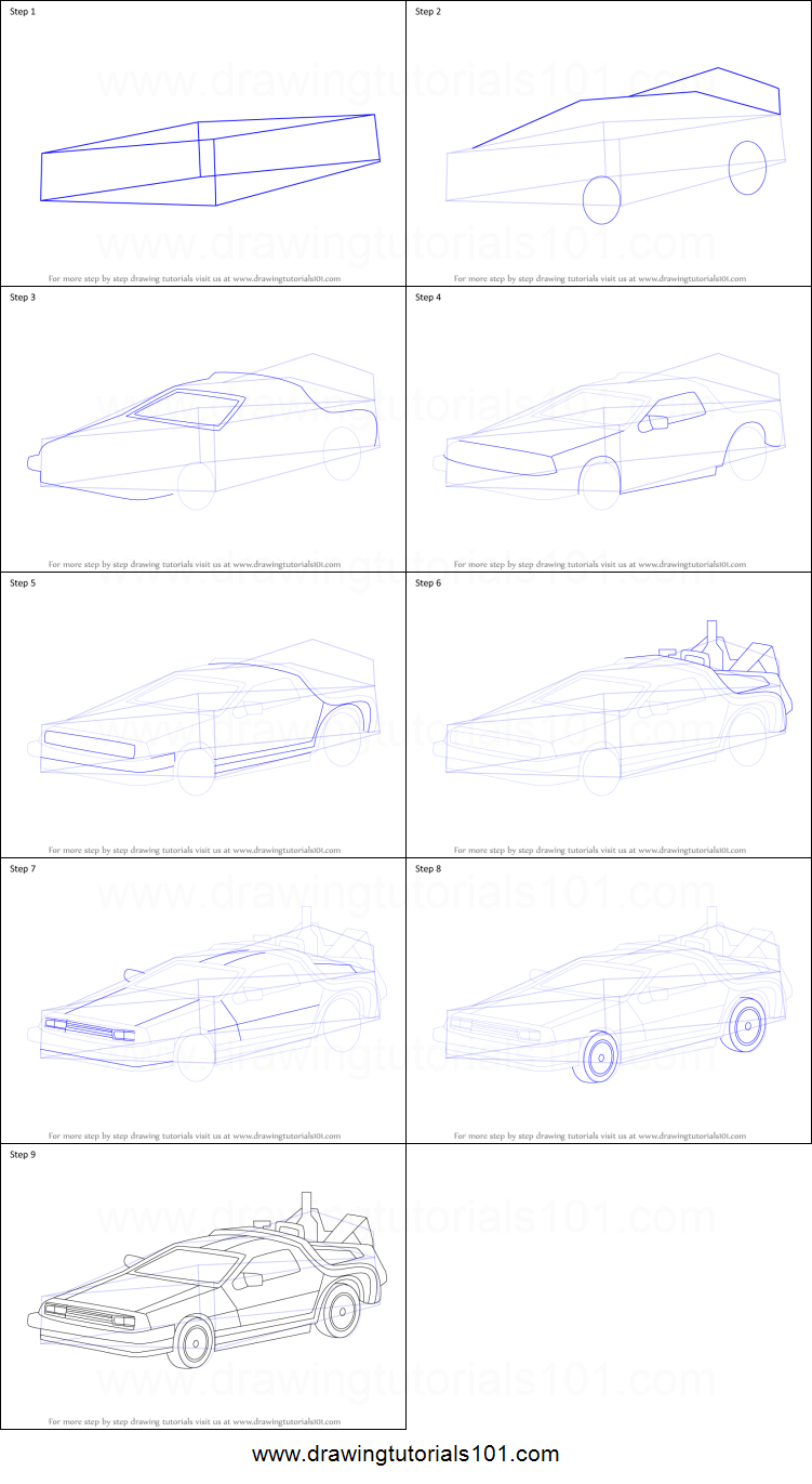How To Draw Delorean From Back To The Future Printable Drawing Sheet By Drawingtutorials101 Com Drawing Sheet Back To The Future Drawings