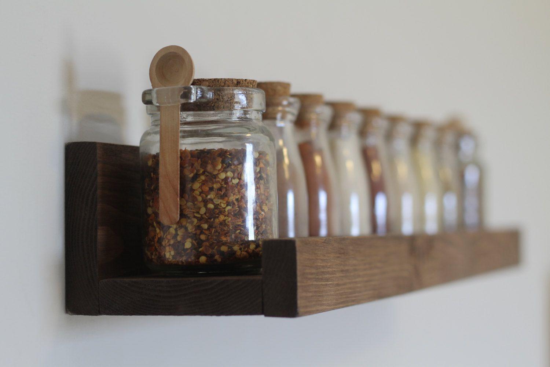 Rustic Wooden Spice Rack Ledge Shelf, Ledge Shelves, Wooden Rack, Rustic Home Decor