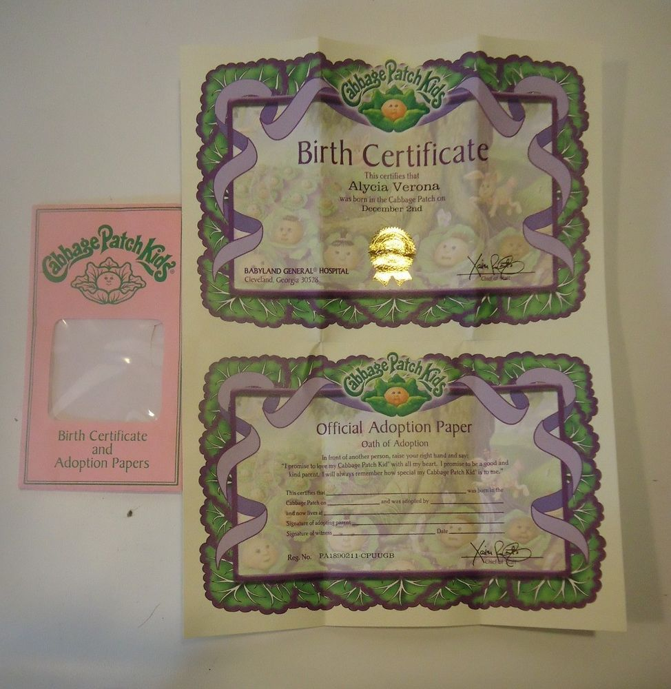 2004 cabbage patch birth kids certificate adoption papers alycia 2004 cabbage patch birth kids certificate adoption papers alycia verona aiddatafo Gallery