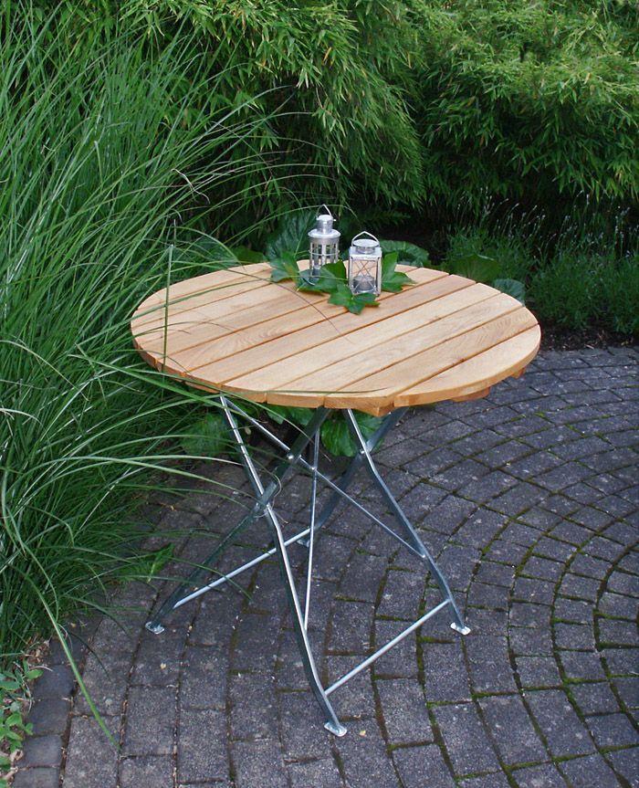 Gartentisch holz modern  Gartentisch Rund Natur/ Silber Woody 184-00064 Holz Modern Jetzt ...