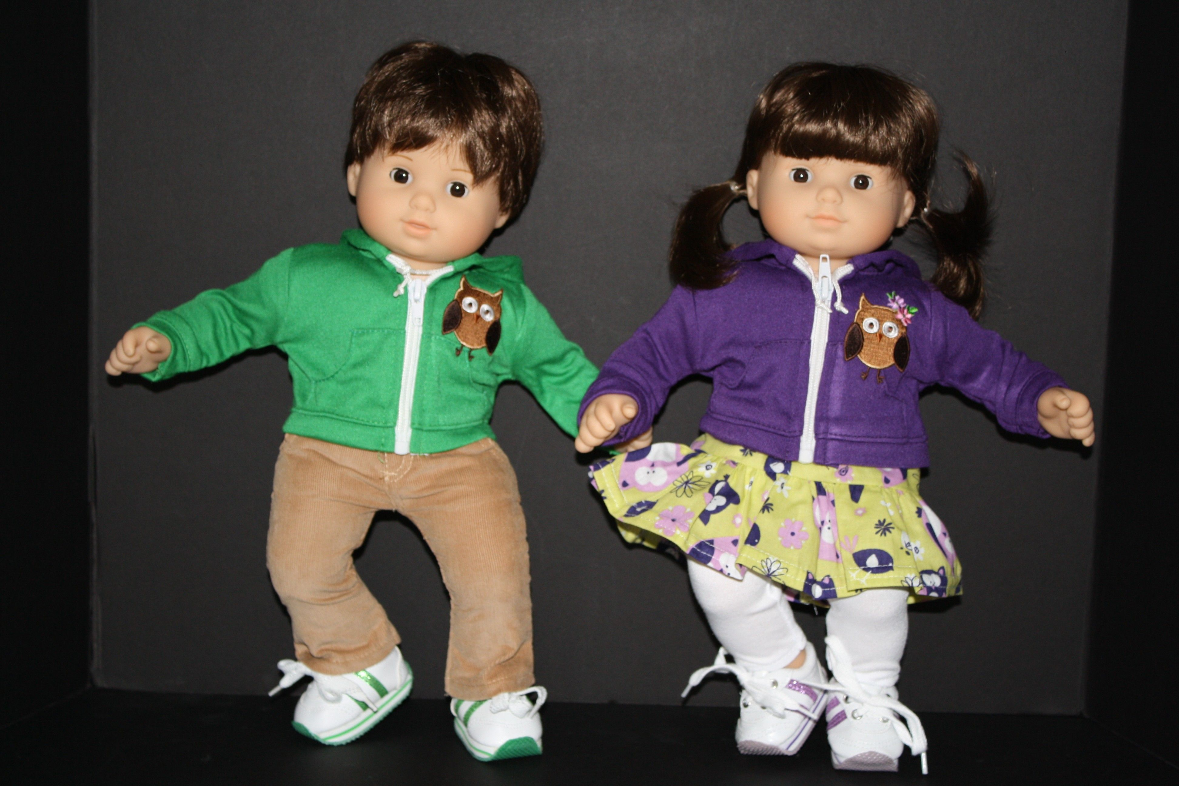 Purple and Green Owl Boy and Girl Twin Hoo Outfits for Bitty Baby