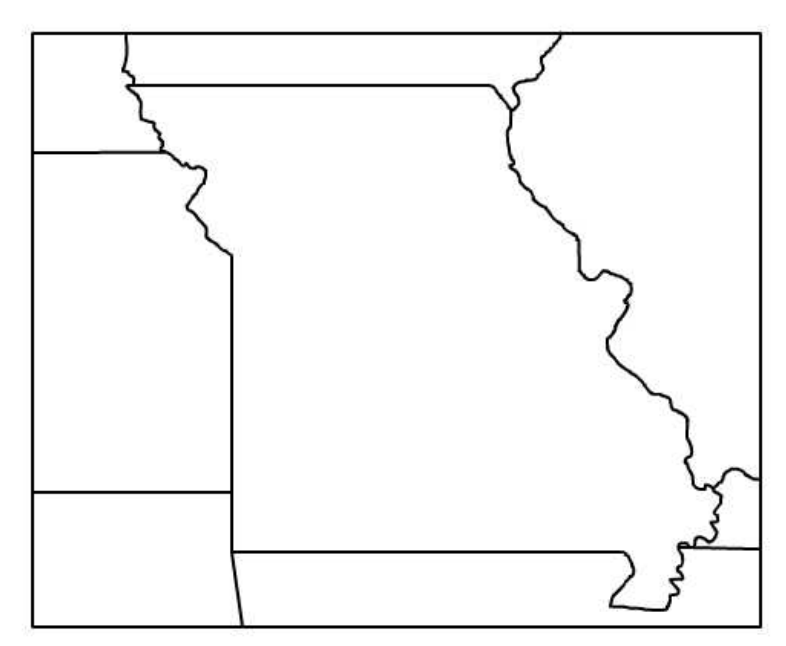 This Is A Blank Outline Map Of Missouri And Its Surrounding States Missouri Map State Outline