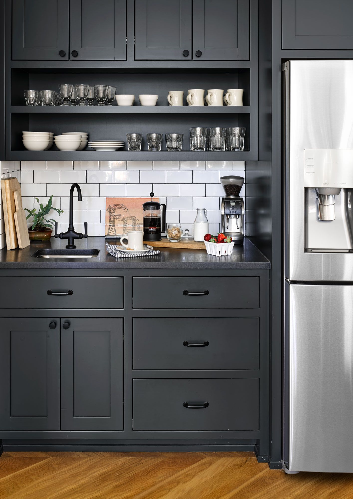Relaxing Shades Of Blue Update This 1916 Home For An Atlanta Restaurant Duo In 2020 Kitchen Cupboard Designs Grey Kitchen Cupboards Kitchen Design Small