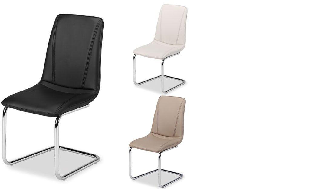 chaise de salle manger design en pu et pieds chrom cina 3 coloris au - Chaise De Salle A Manger Design