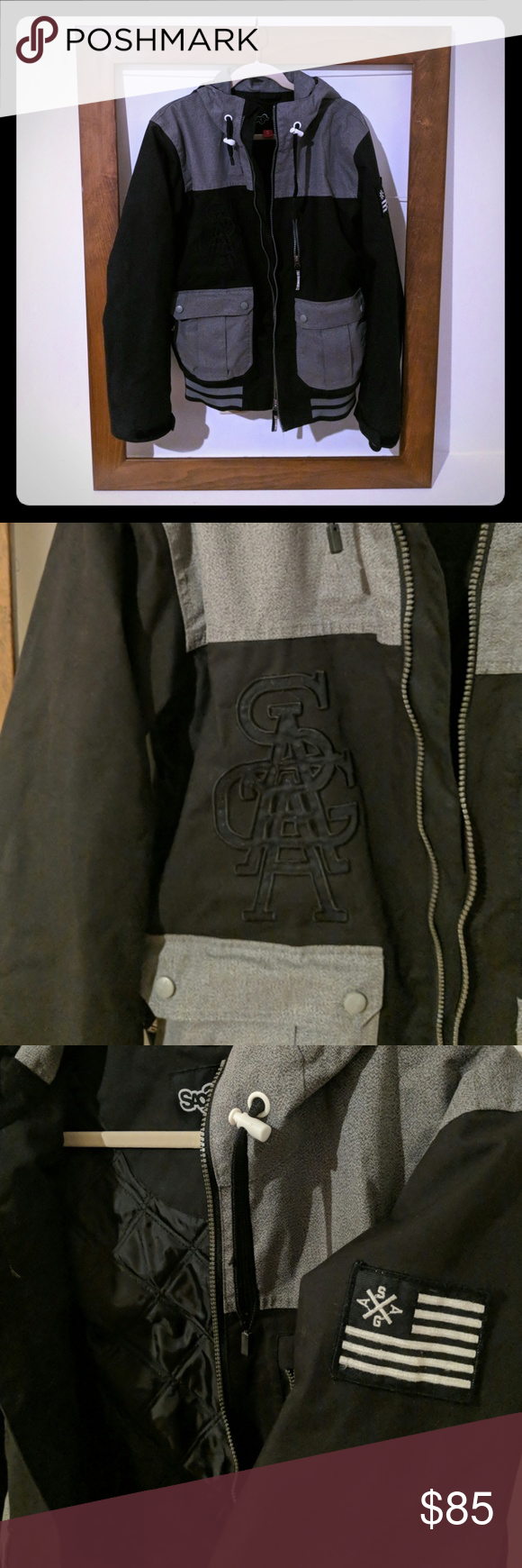 Saga Snow Boarding Jacket Saga Quilted Snow Boarding Jacket With Water Proof Outing Saga Jackets Coats Utility Jackets Jackets Utility Jacket Black And Grey [ 1740 x 580 Pixel ]