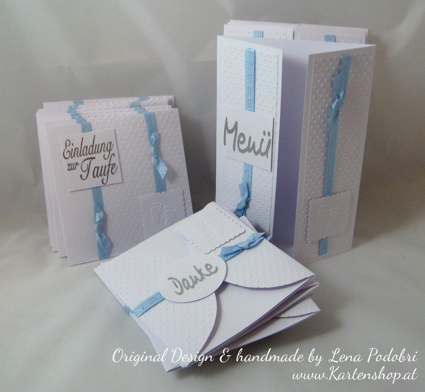 taufe boy - set: einladungen, menükarten, dankeskarten | karten, Einladung