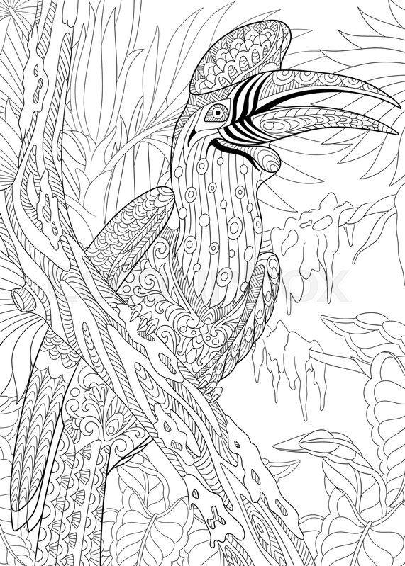 Stock Vector Of Stylized Cartoon Exotic And Tropical Rhinoceros Hornbill Bird Buceros
