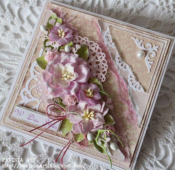 Wczoraj wieczorkiem w pracowni, w przy herbatce powstała tak oto karteczka   w różanych kolorach na ślub...                    ***   M...