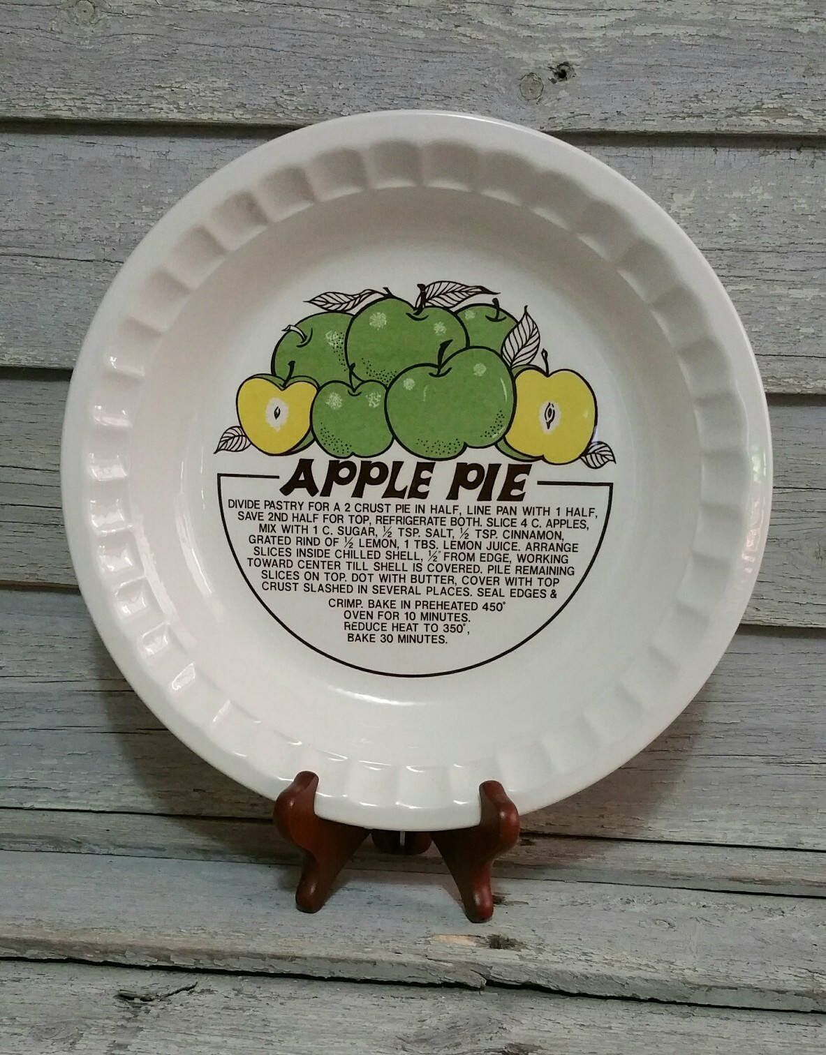 Vintage Ceramic Apple Pie Plate With Recipe Deep Dish Pie Plate Vintage Bakeware by EmptyNestVintage on Etsy & Vintage Ceramic Apple Pie Plate With Recipe Deep Dish Pie Plate ...
