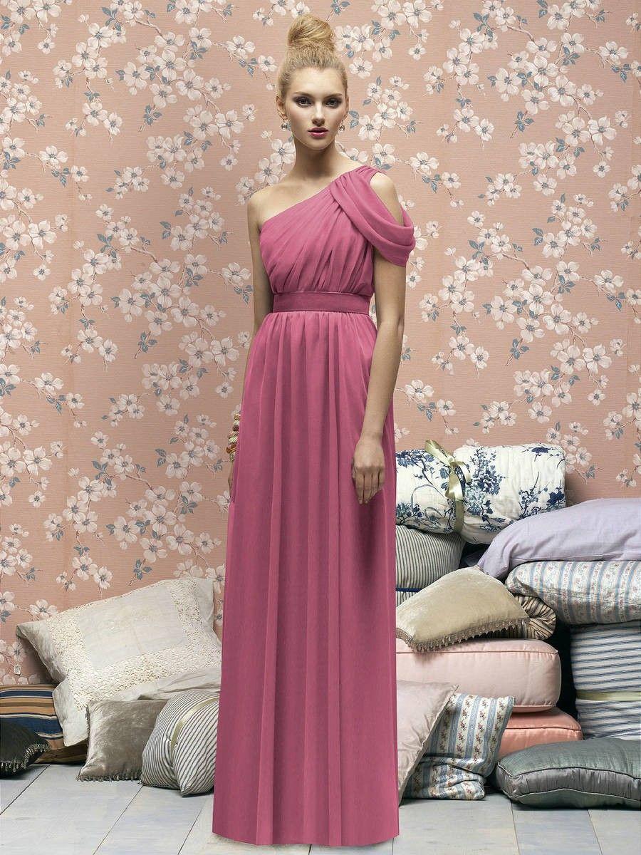 One Shoulder Full Length Crinkle Chiffon Pink Bridesmaid Dresses ...