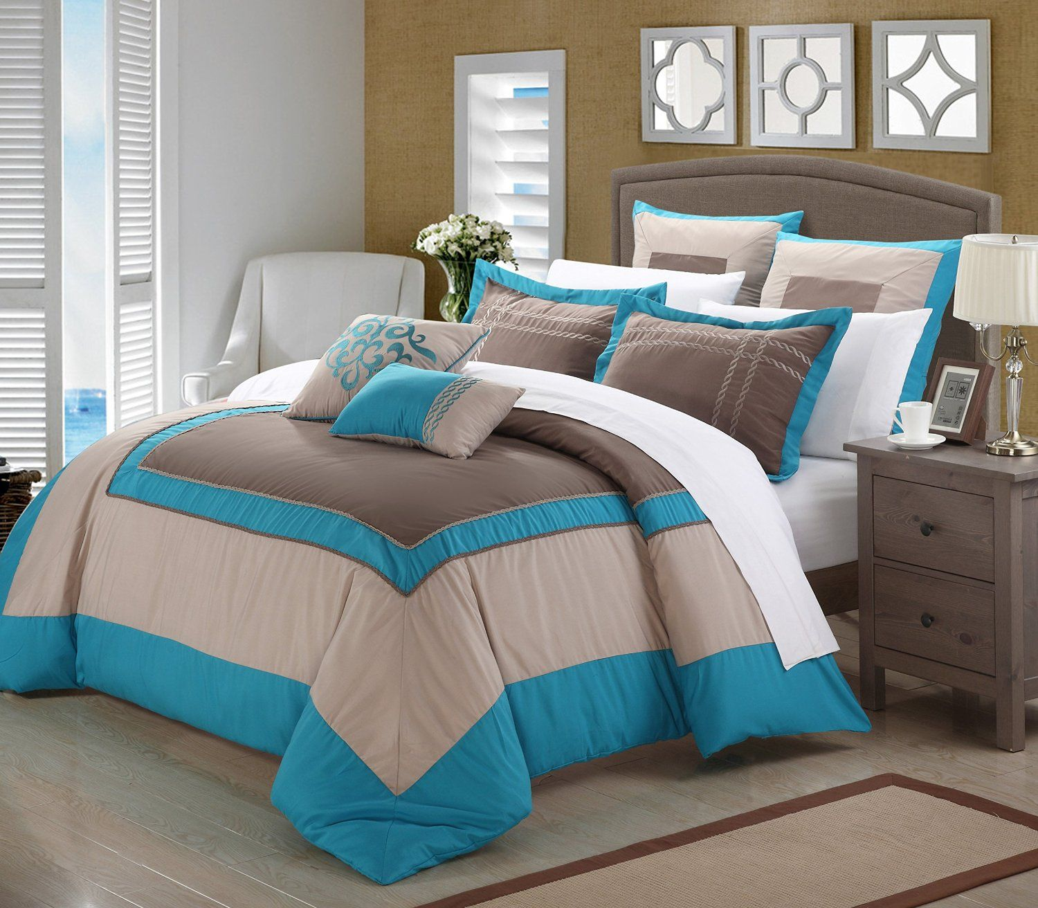 Teal Turquoise And Brown Bedding Bedroom Decor Ideas Bettwäsche Braun Braunes Schlafzimmer Bettdecke