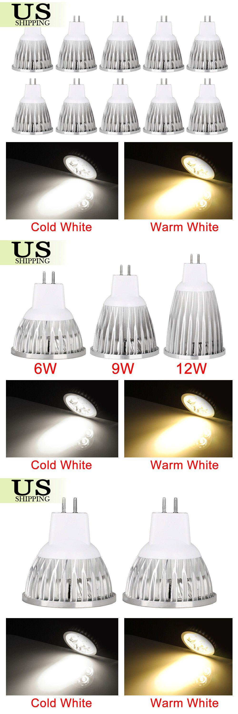 10 Pack 6w 9w 12w Mr16 Led Light Bulbs Ac Dc 12v Spot Light Bulb Spotlight Lamp Spotlight Lamp Led Light Bulbs Bulb
