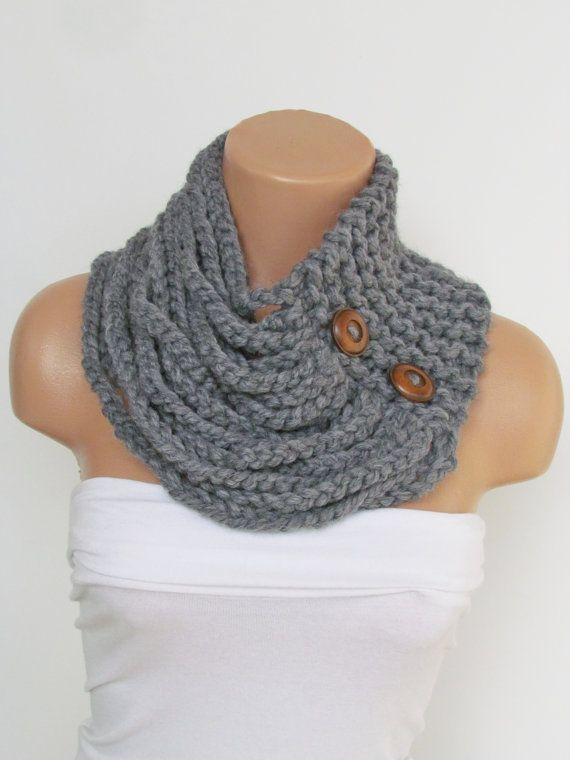 gray knitted cowl scarf with wooden buttons
