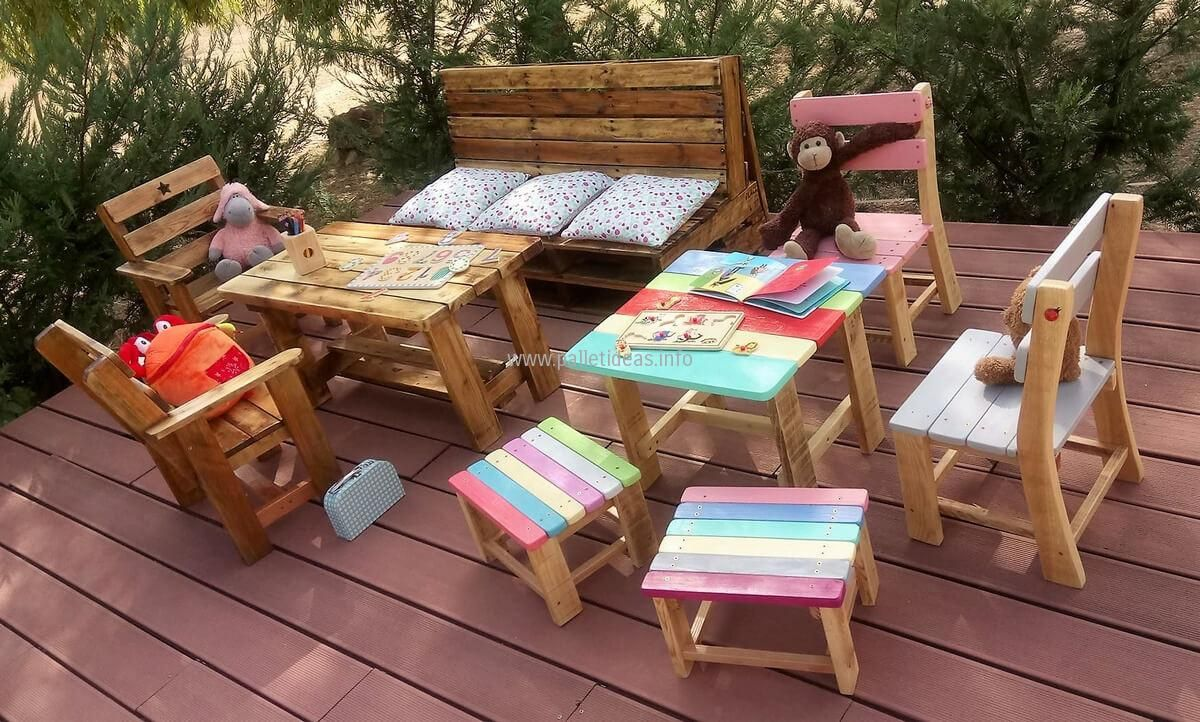 Kids Outdoor Furniture Made With Used Pallets: Now Here Is Another Idea For  The Kids To Create Reclaimed Wood Pallet Furniture For Them, ... Part 62