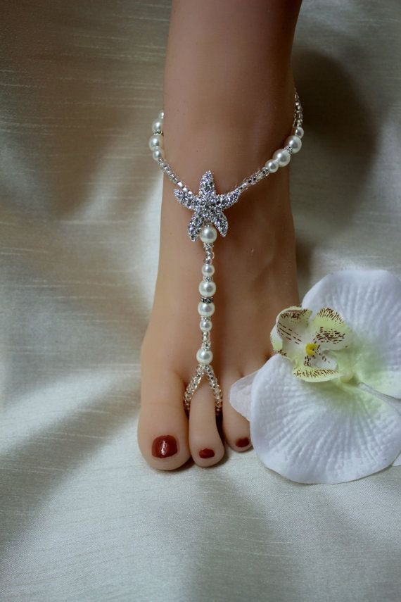 Pearl Silver Barefoot Sandals Bridal Jewelry Bridal Shower Jewelry