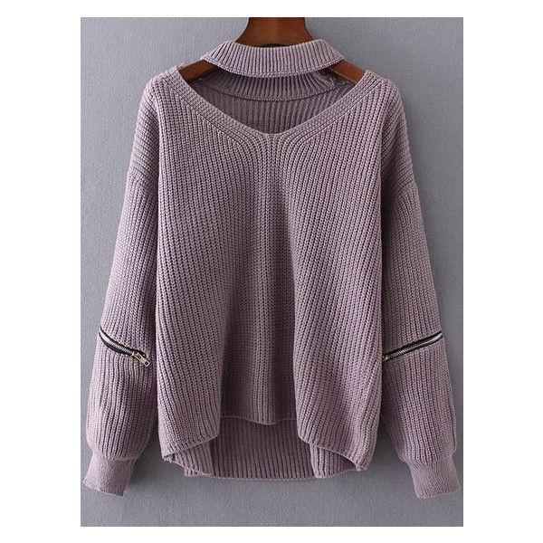 Chunky Choker Sweater - Light Purple - One Size