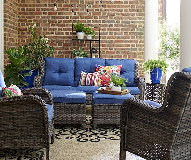 Best Wilson Fisher Oakmont Navy Blue Cushioned Patio Seating 400 x 300