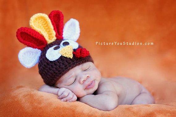 cd8ddca81 TURKEY BABY HAT - Photo Prop -Baby/ Newborn - Thanksgiving Hat ...