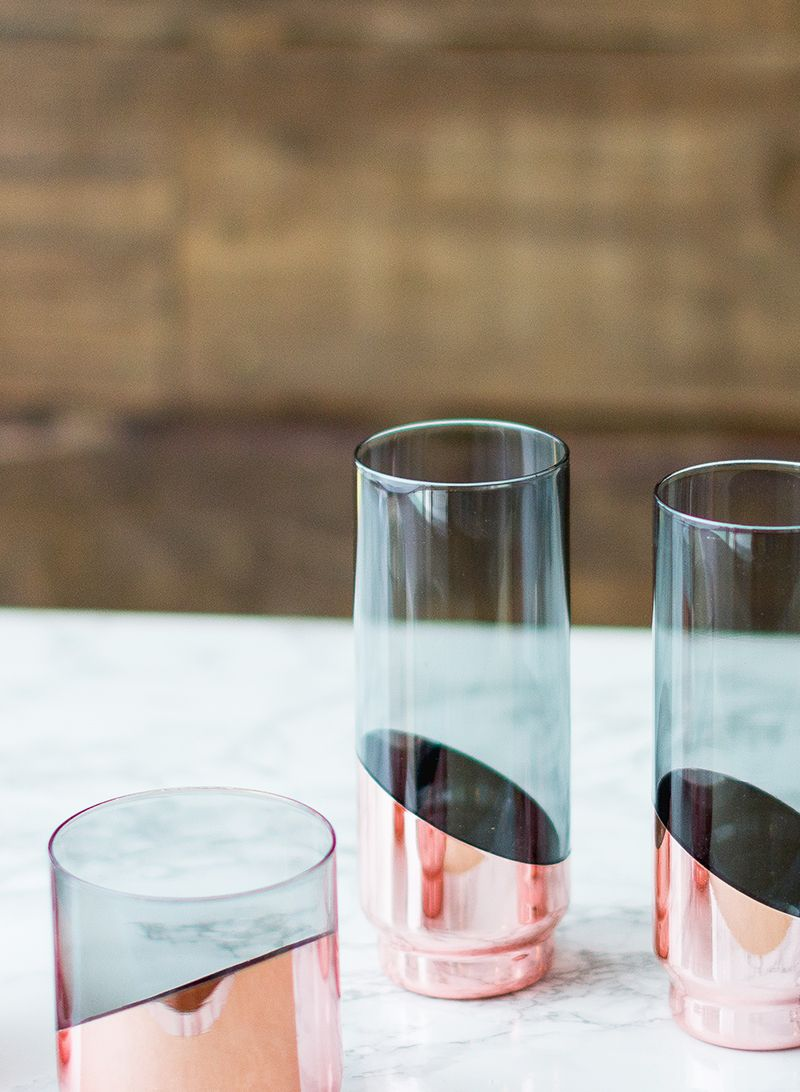 f90e1ac6d27 Constructed from lead-free crystal, tinted a light, smoky gray, this set of  two highball cocktail glasses features an electroplated veneer of polished  ...