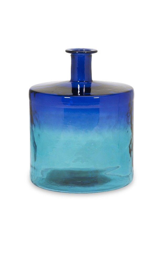 Luzon Short Oversized Recycled Navy Blue Glass Vase Home D