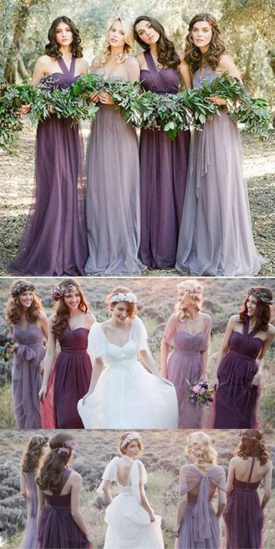 Cheap Charming Bridesmaid Dresses Tulle Long Wedding Party Dresses