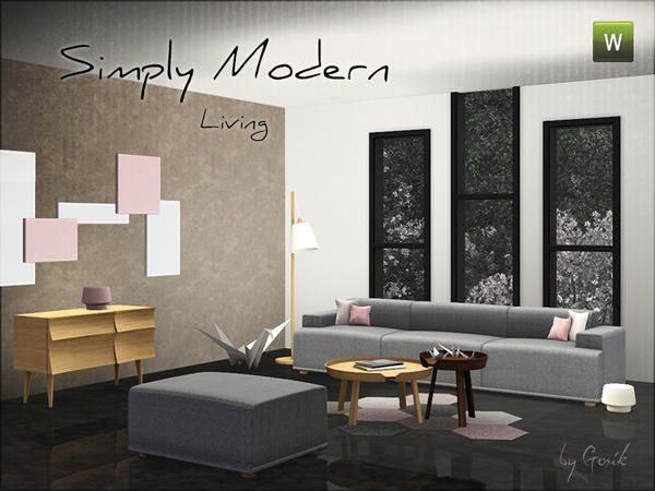 The Sims Resource Tsr Simply Modern Living By Gosik Sims 3 Living Room Living Room Modern Living Room Sets