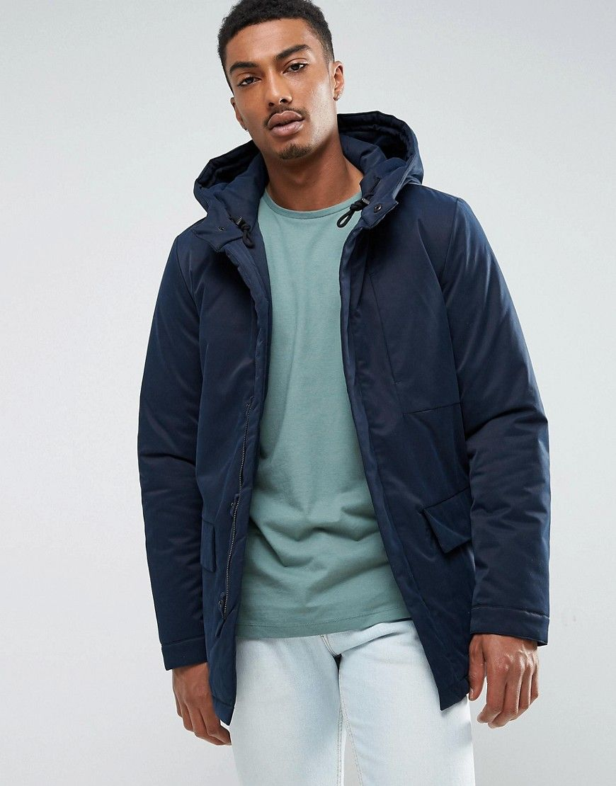 Selected homme parka with removable faux fur hood