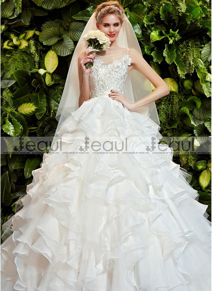 Wedding Dress Ball Gown Shoulders Lace Bling Bling Diamonds With Court Train