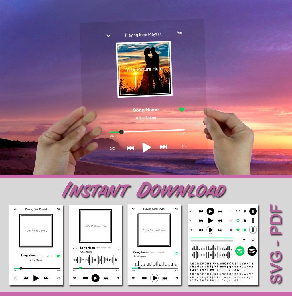 Spotify Glass Song Art Music player Audio Album cover