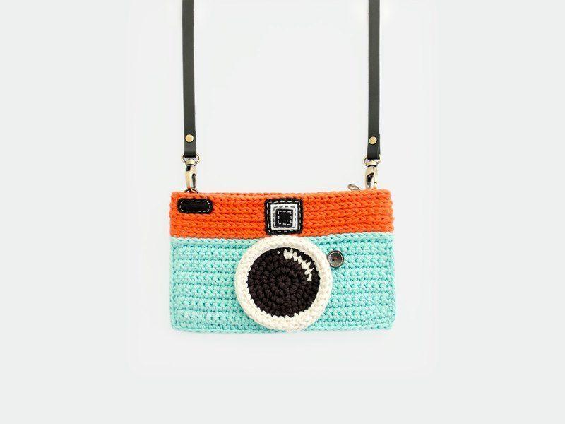 Crochet Vintage Camera Purse/ Mint-Orange Color - Meemanan - Messenger Bags & Sling Bags #camerapurse Crochet Vintage Camera Purse/ Mint-Orange Color #camerapurse