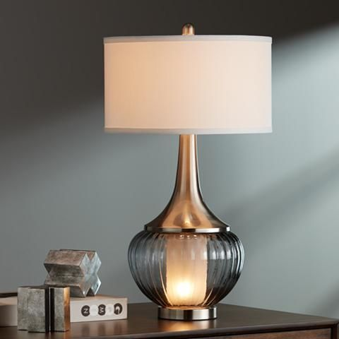 Courtney metal and glass night light table lamp glass metals and this elegant designer style table lamp features a built in night light within a aloadofball Choice Image