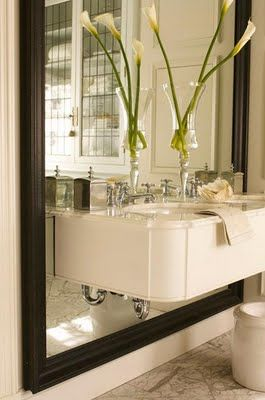 Bath Ideas Cantilevered Double Vanity Over Oversized Framed Mirror