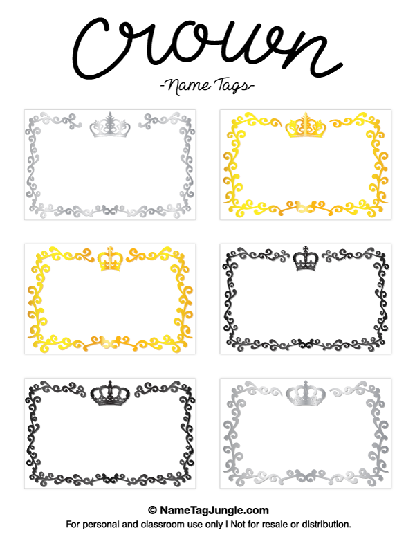 Free Printable Crown Name Tags The Template Can Also Be Used For