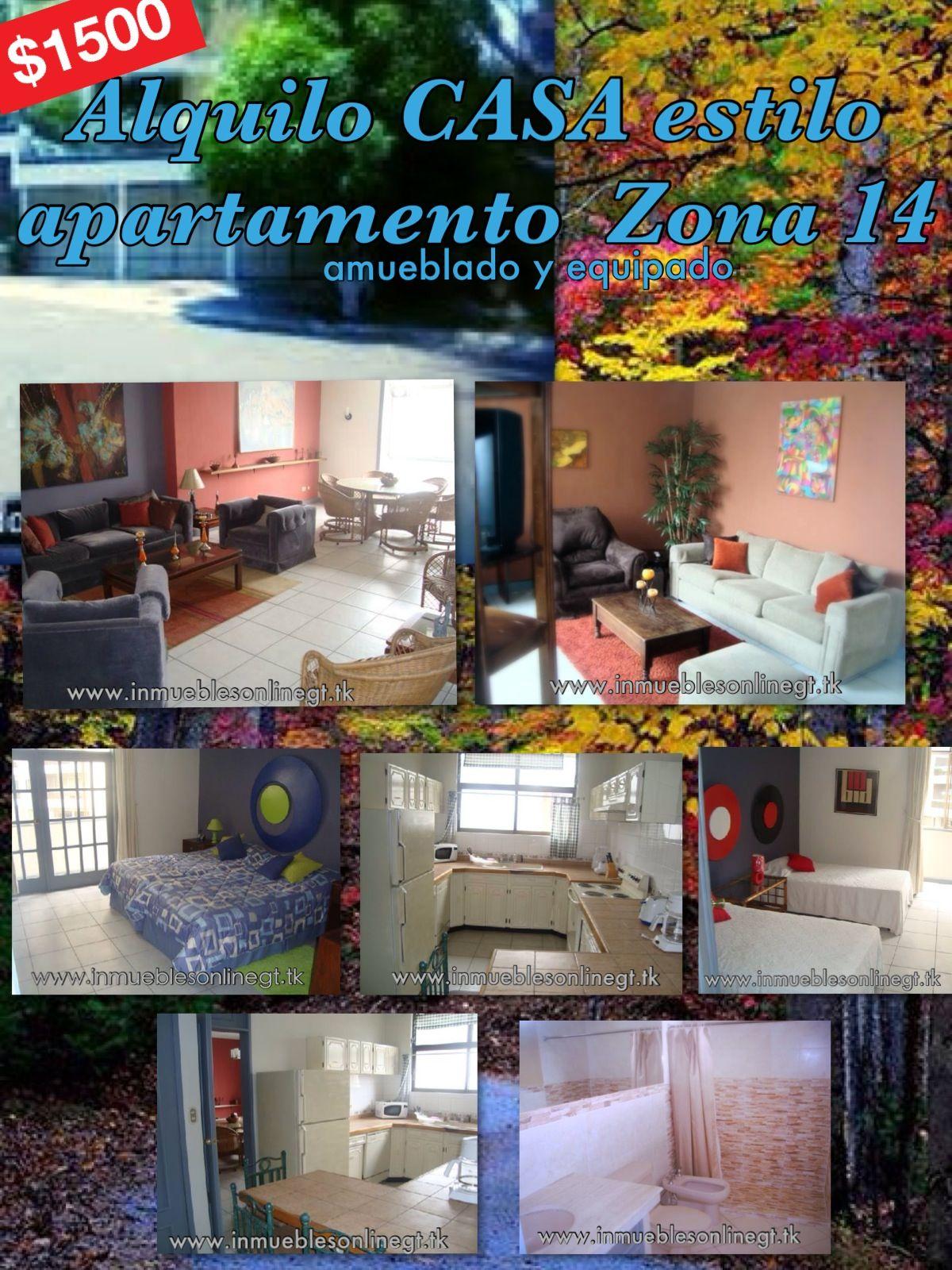 Alquilo CASA estilo apartamento Zona 14 Amueblado y